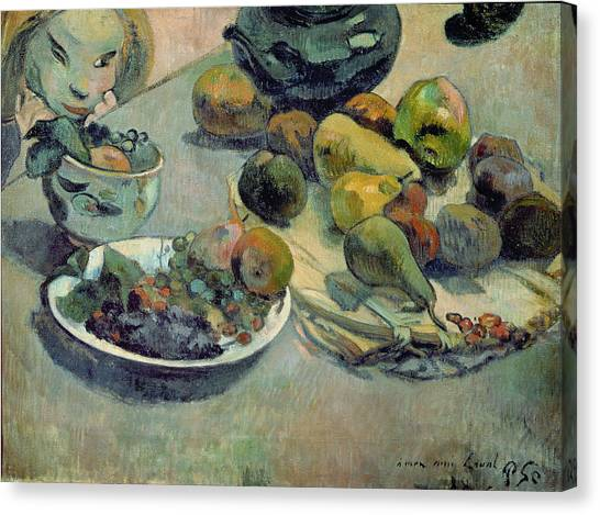 Mangos Canvas Print - Still Life With Fruit by Paul Gauguin