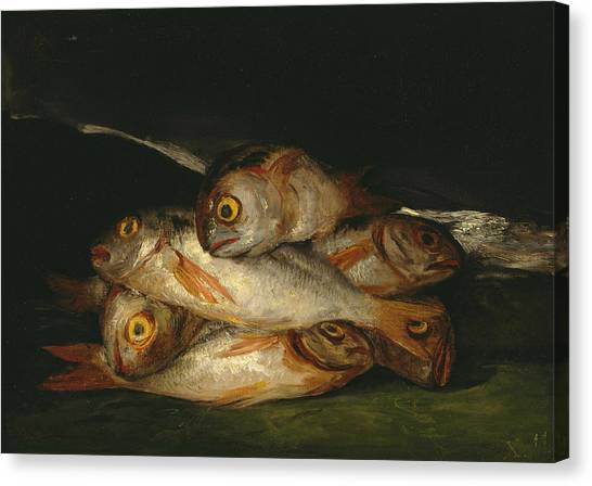 Still Life With Fish Canvas Print - Still Life With Golden Bream by Francisco Goya