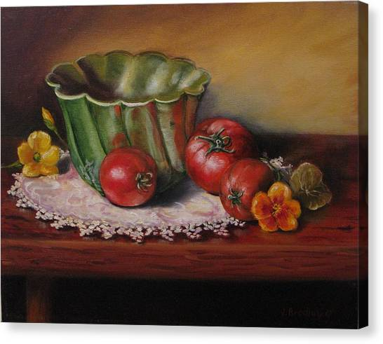 Still Life With Green Bowl Canvas Print