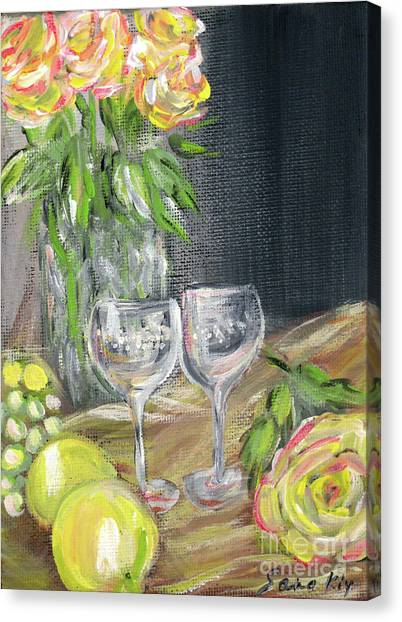 Still Life With Lemons, Roses  And Grapes. Painting Canvas Print
