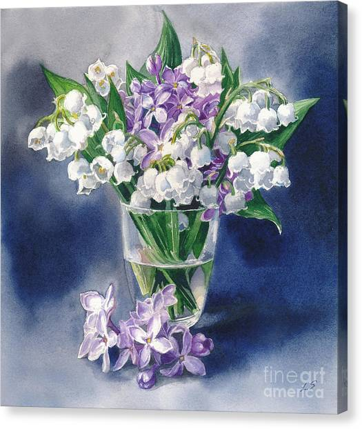 Still Life With Lilacs And Lilies Of The Valley Canvas Print