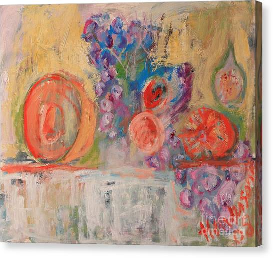 Still Life With Melon And Fig Canvas Print by Michael Henderson