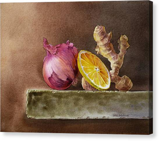 Vegetables Canvas Print - Still Life With Onion Lemon And Ginger by Irina Sztukowski