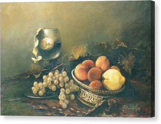 Still-life With Peaches Canvas Print
