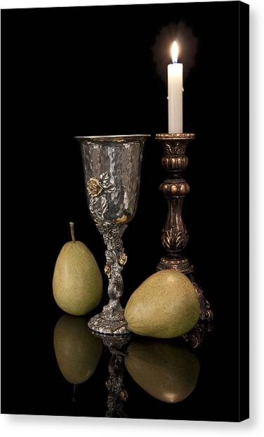 Candlestick Canvas Print - Still Life With Pears by Tom Mc Nemar