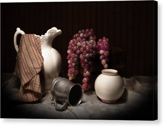 Grapes Canvas Print - Still Life With Pitcher And Grapes by Tom Mc Nemar