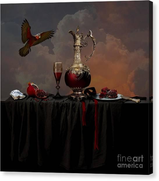 Canvas Print featuring the photograph Still Life With Pomegranate by Alexa Szlavics