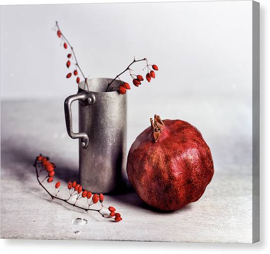Berries Canvas Print - Still Life With Pomegranate by Nailia Schwarz