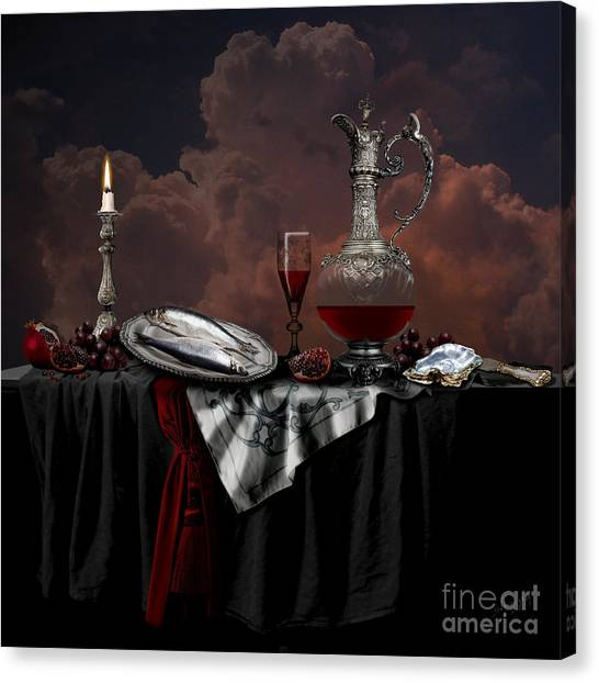 Canvas Print featuring the digital art Still Life With Red Wine by Alexa Szlavics