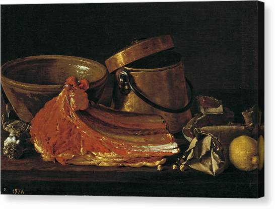 Ribeye Canvas Print - Still Life With Ribeye Condiments And Vessels by Luis Egidio Melendez