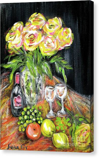 Still Life With Roses, Fruits, Wine. Painting Canvas Print