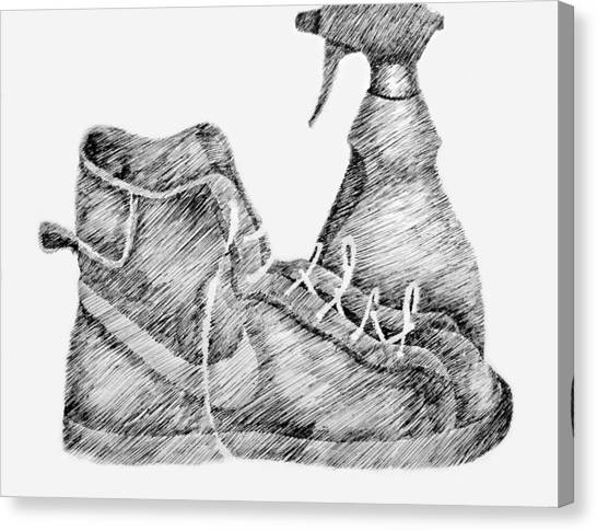 Still Life With Shoe And Spray Bottle Canvas Print