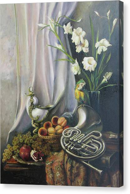 Still-life With The French Horn Canvas Print