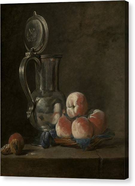 18th Century Canvas Print - Still Life With Tin Pitcher And Peaches  by Jean-Baptiste-Simeon Chardin