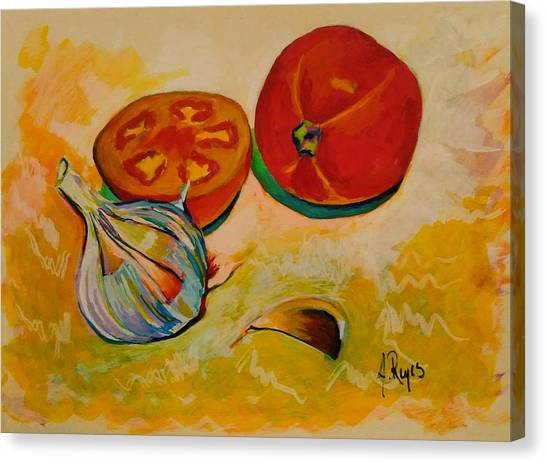 Still Life With Tomatoes And Garlic Canvas Print