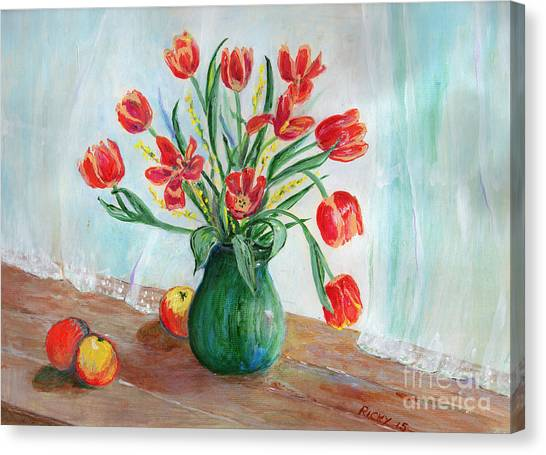 Still Life With Tulips And Apples - Painting Canvas Print