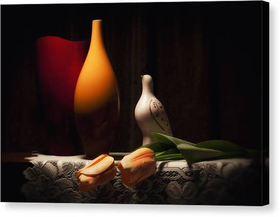 Dove Canvas Print - Still Life With Vases And Tulips by Tom Mc Nemar
