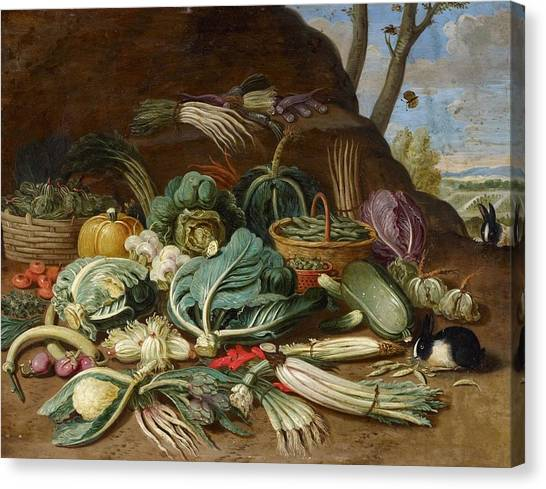 Still Life With Fish Canvas Print - Still Life With Vegetables And A Rabbit Still Life With Fish And Cats In The Kitchen by Jan van Kessel
