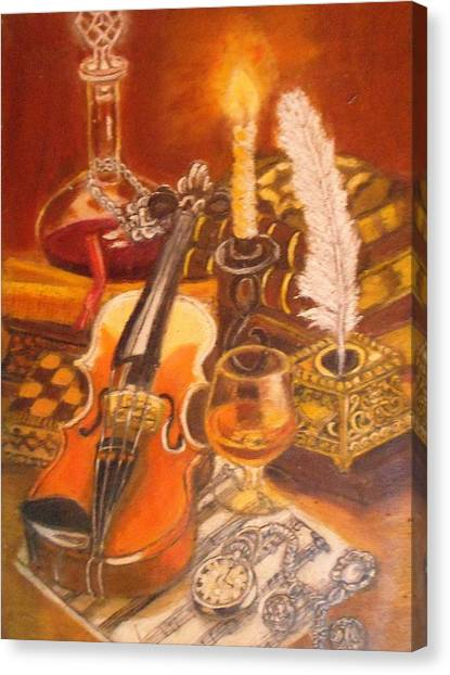 Still Life With Violin And Candle Canvas Print