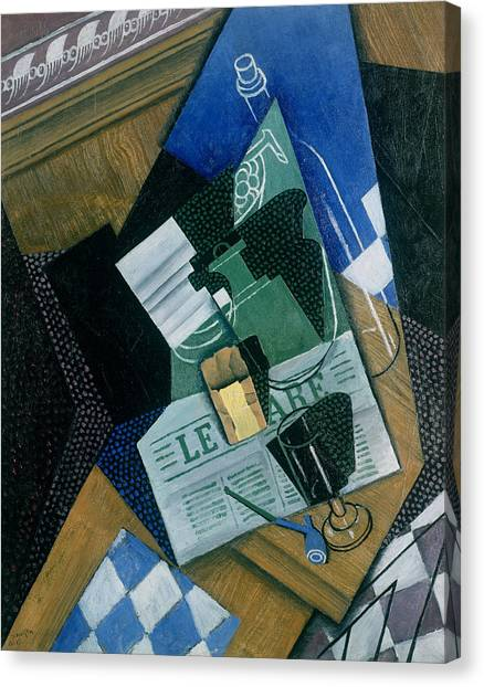 Pablo Picasso Canvas Print - Still Life With Water Bottle, Bottle And Fruit Dish, 1915 by Juan Gris