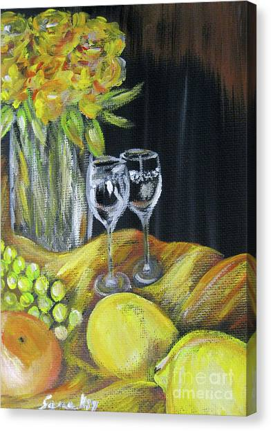 Still Life With Wine Glasses, Roses And Fruit. Painting Canvas Print