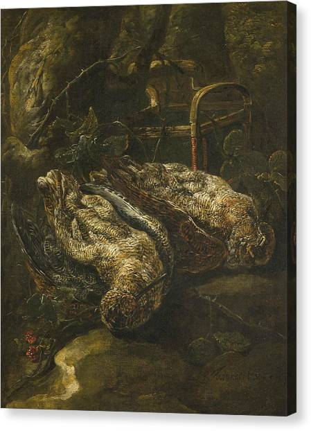 Woodcock Canvas Print - Still Life With Woodcocks by Jan Fyt