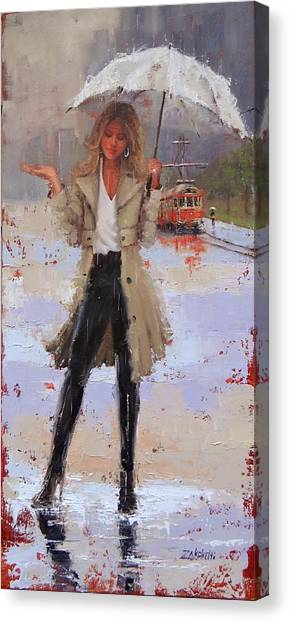 Trolley Canvas Print - Still Raining by Laura Lee Zanghetti