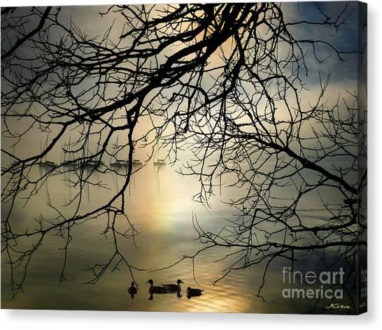 Stille Hjerte Sol Gaar Ned Canvas Print