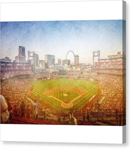Baseball Canvas Print - #stlouiscardinals #saintlouis Cardinals by David Haskett II