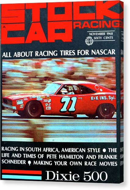 Stock Cars Canvas Print - Stock Car Racing 1968 by David Lee Thompson