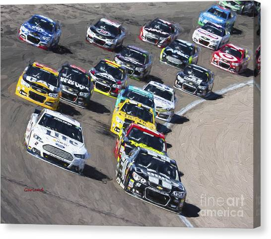 Hendrick Motorsports Canvas Print - Stock Car Racing In Vegas by Garland Johnson