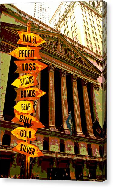Currency Canvas Print - Stock Exchange And Signs by Garry Gay