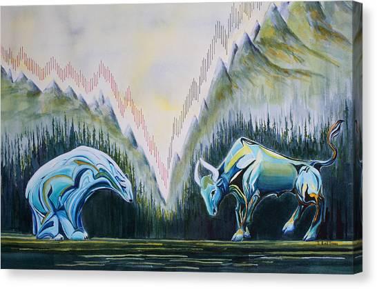 Glass Canvas Print - Stock Market Titans by Sheila Kirk
