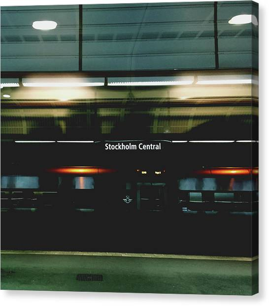 Neon Canvas Print - Stockholm Central- Photograph By Linda Woods by Linda Woods