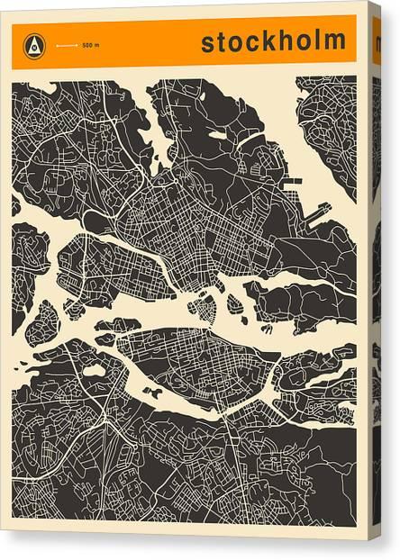 Art Deco Canvas Print - Stockholm Map by Jazzberry Blue