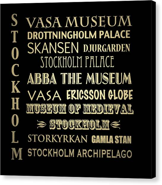 Famous Places Canvas Print - Stockholm Famous Landmarks by Patricia Lintner
