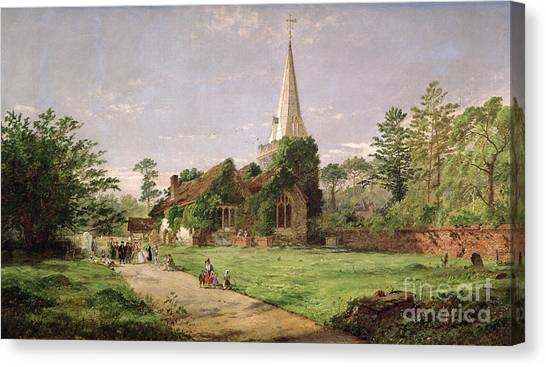 Dilapidated Canvas Print - Stoke Poges Church by Jasper Francis Cropsey