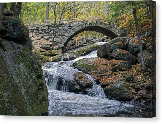 Stone Arch Bridge In Autumn Canvas Print