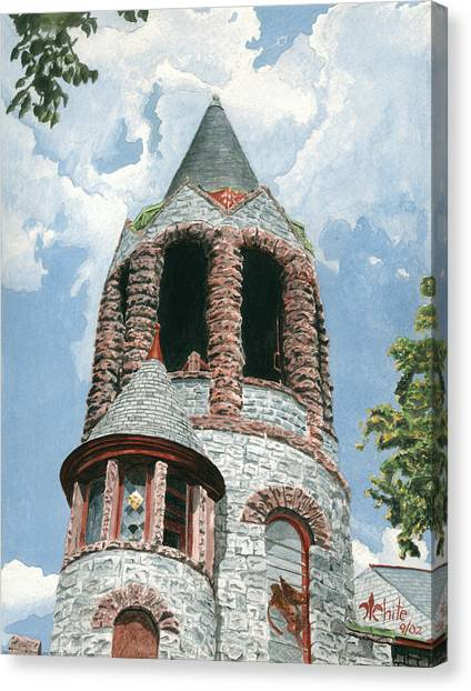 Canvas Print featuring the painting Stone Church Bell Tower by Dominic White