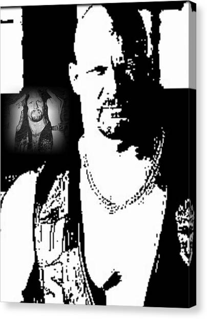 Steve Austin Canvas Print - Stone Cold X2 by Jeffrey Bradley
