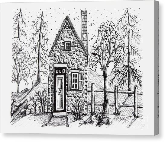 Pen And Ink Drawing Canvas Print - Stone Cottage by Karla Gerard