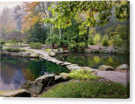 Autumn Pond Canvas Print - Stone Crossing by Tom Mc Nemar
