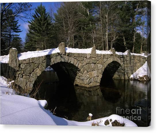 Stone Double Arched Bridge - Hillsborough New Hampshire Usa Canvas Print