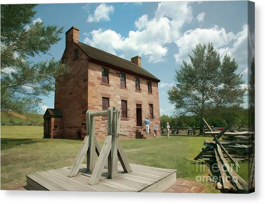 Us Civil War Canvas Print - Stone House At Manassas With Digital Effects by William Kuta