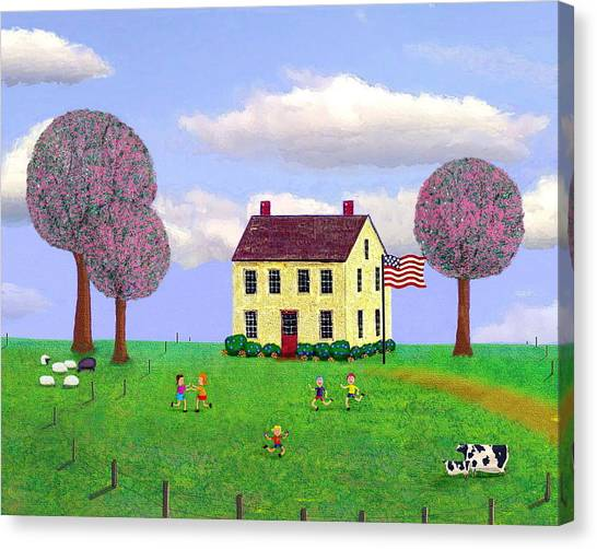 Stone House In Spring Canvas Print by Paul Little