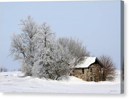Stone House In Winter Canvas Print