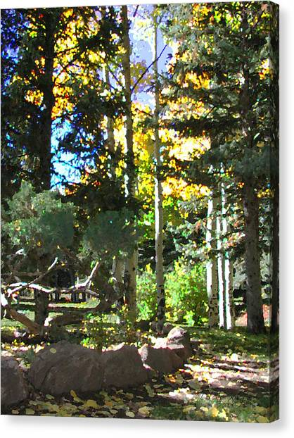 Canvas Print featuring the digital art Stone Park Trails by Deleas Kilgore