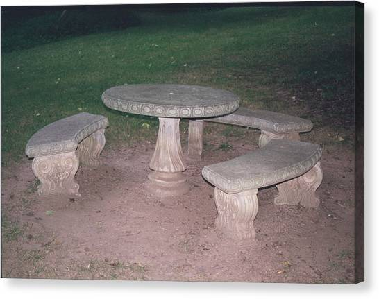 Stone Picnic Table And Benches Canvas Print