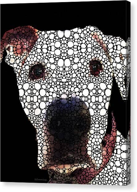 Pitbulls Canvas Print - Stone Rock'd Dog 2 By Sharon Cummings by Sharon Cummings