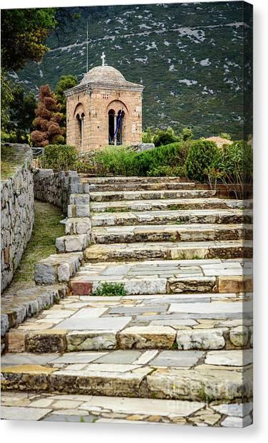 St Kyriaki Canvas Print - Stone Stair Walkway At Moni Osios Loukas In Distomo, Greece by Global Light Photography - Nicole Leffer